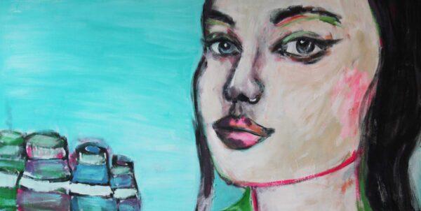 Wandbild auf Leinwand. Kunstdruck mit Frau. Blaue Augen.