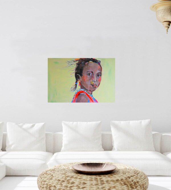 Wohnzimmer Wandbild XXL. Leinwandbild mit Mädchen. Modernes Kunst Bild.