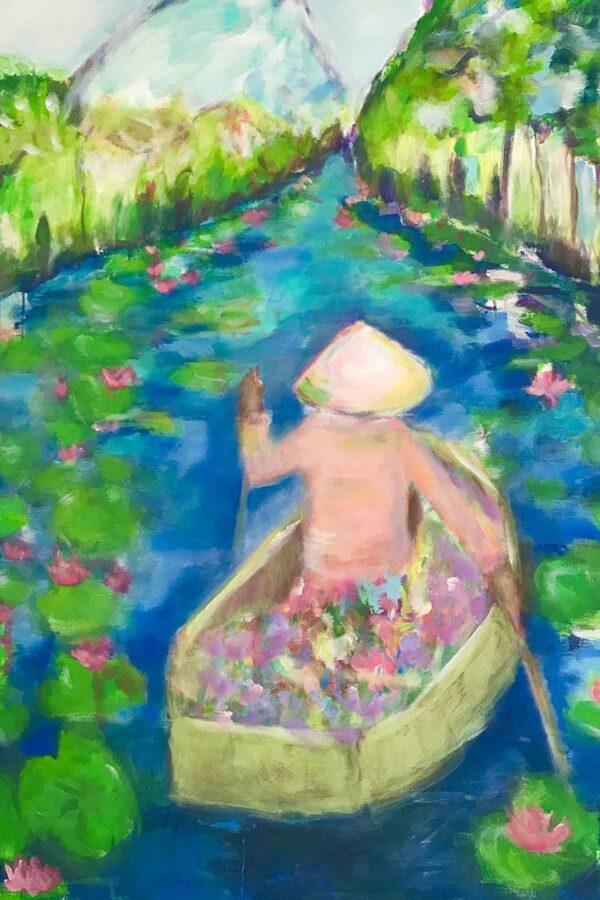 Wohnzimmerbild. Modernes Wandbild. Boot im Fluss. Kunstdruck.