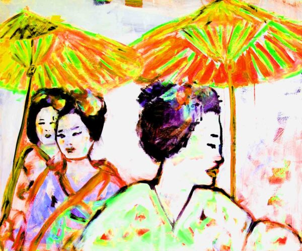 Gemaltes Acrylbild. Farbenfrohes Gemälde. Gelb, orange, grün, lila, pink, rot.
