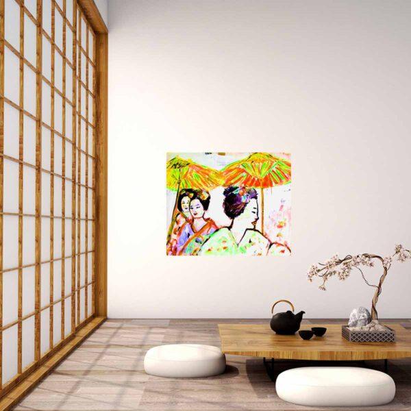 Acrylbild. Bunt gemaltes Leinwandbild. Gemälde gelb, orange, grün, lila, pink, rot