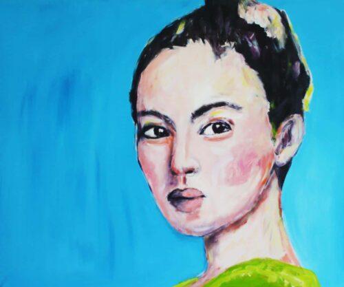 Blau Bild. Kunstdruck. Leinwandbild Porträt. Frauen Bild mit blauem Hintergrund.