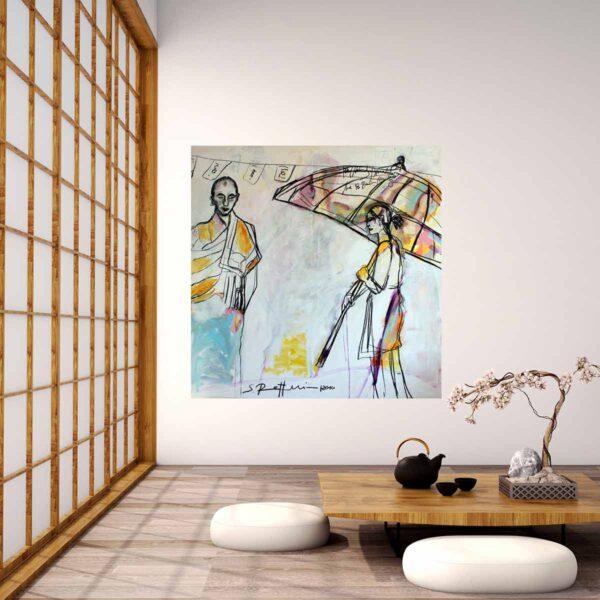 Gemälde groß. Wandbild XXL. Modern gemaltes Leinwandbild. Meditatives Acrylbild.
