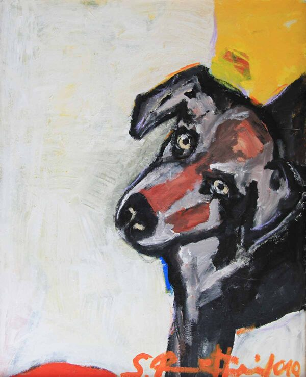 Gemälde Hund. Gemaltes Hundeportrait Bild. Modernes Acrylbild mit Hund.