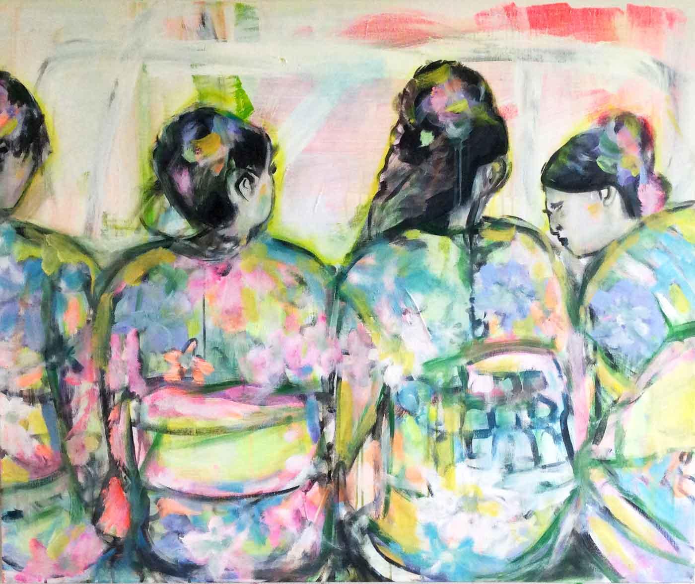 Modernes Gemälde kaufen. Zartes farbenfrohes handgemaltes Bild.