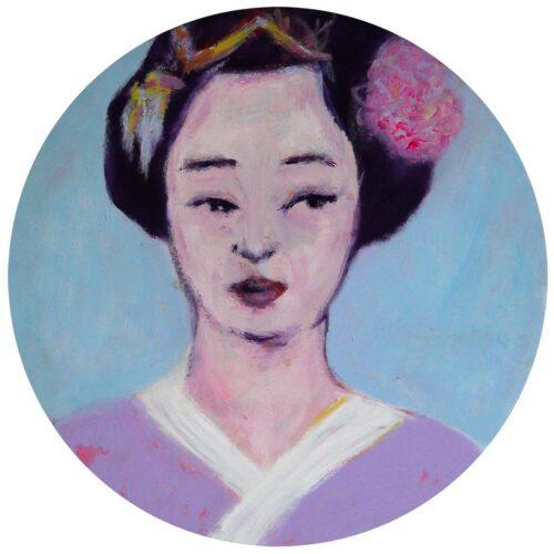 Rundes Gemälde Porträt mit Frau. Modernes Leinwandbild. Gemaltes Acrylbild.