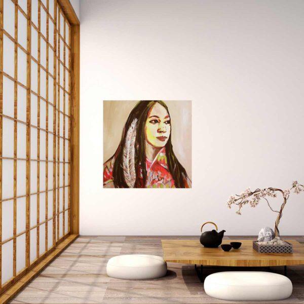 Kunstdruck Portrait. Buntes Leinwandbild mit Frau. Modernes Wandbild.