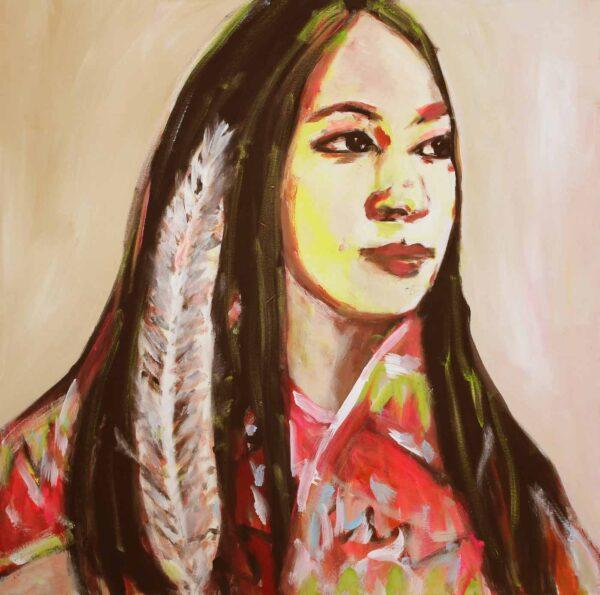 Kunstdruck Portrait mit Frau. Leinwandbild. Buntes Wandbild.