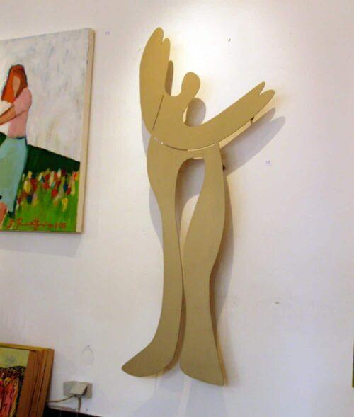 Metall Wanddeko. Moderne Wanddekoration. Abstrakter Engel. Wandobjekt. Wandskulptur gold.