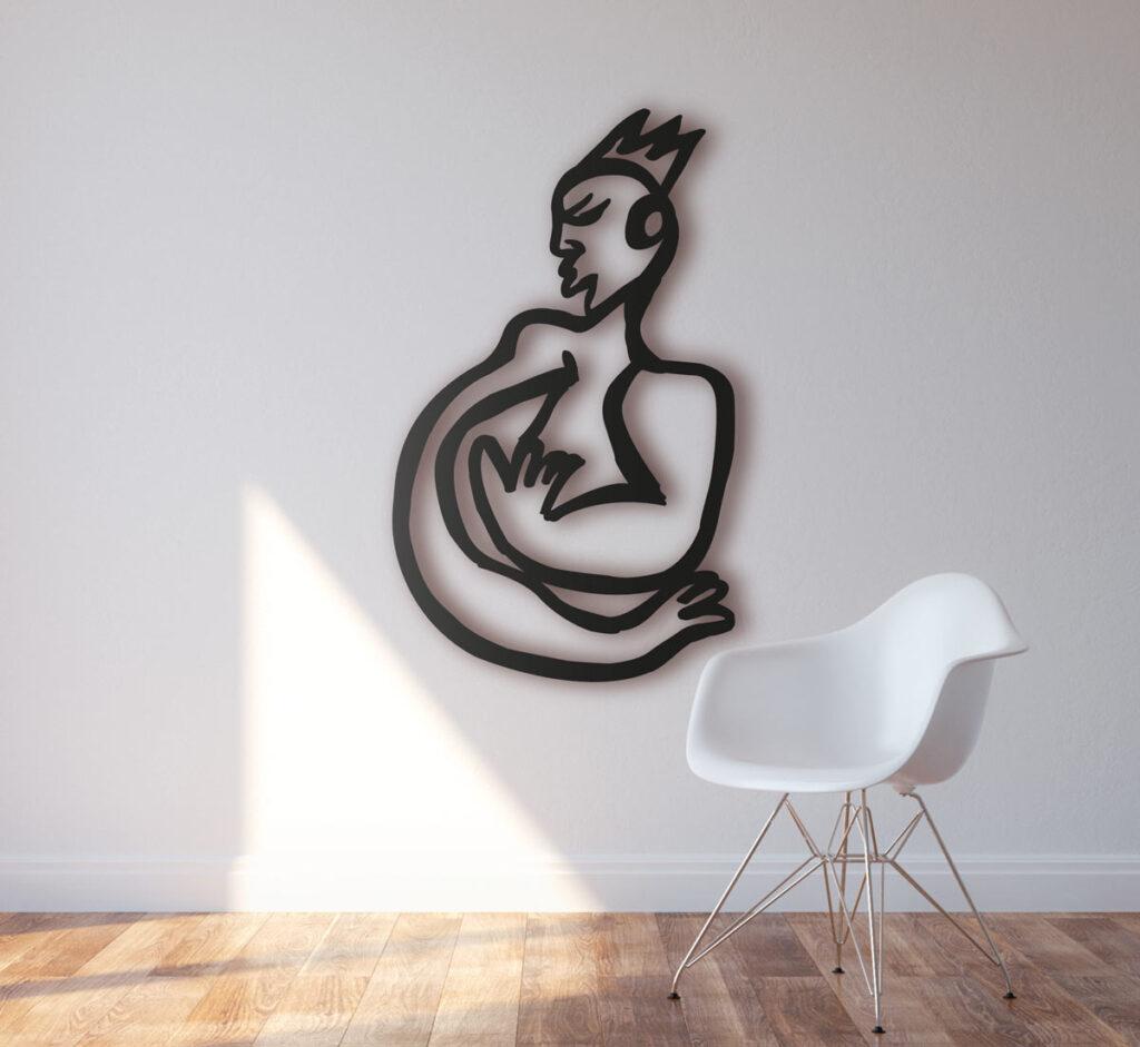 Wanddeko Metall. Moderne Wandplastik. Wandobjekt schwarz. Abstrakte Wandskulptur.