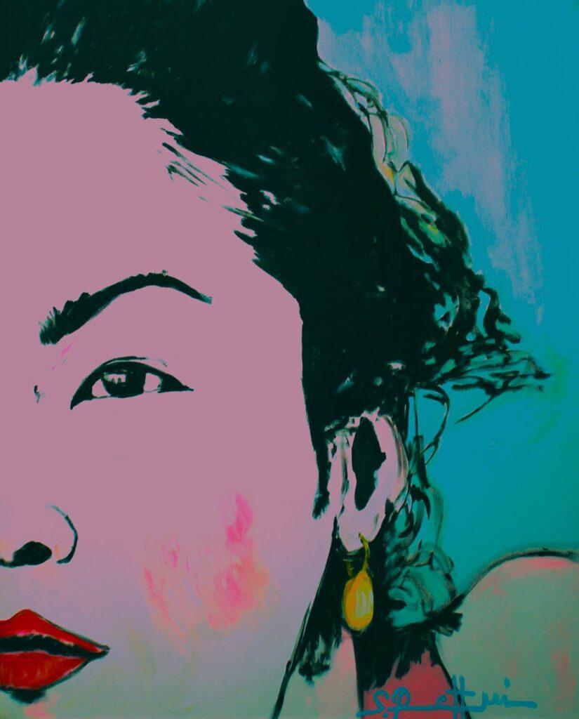 Pop Art Bild. Kunstdruck von Pop-ART Gemälde. Leinwandbild. Schönes Frauengesicht.