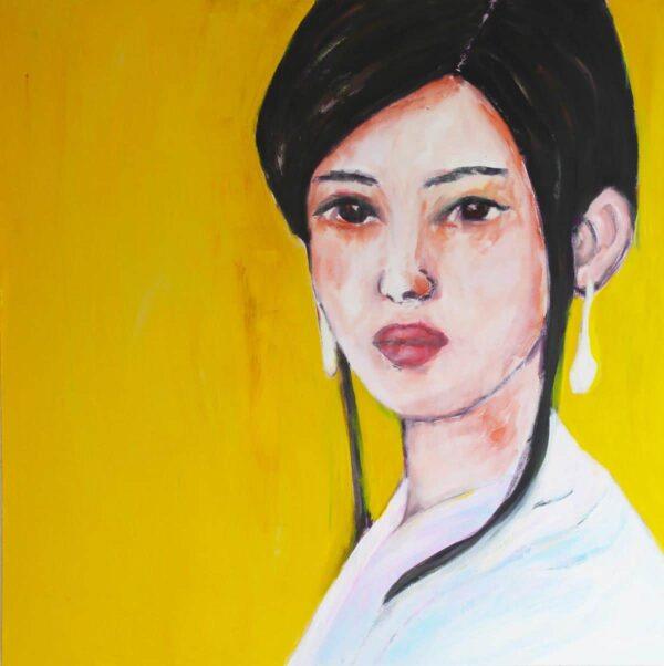 Portrait Kunstdruck. Modernes Wandbild mit Frau. Leinwandbild gelb.