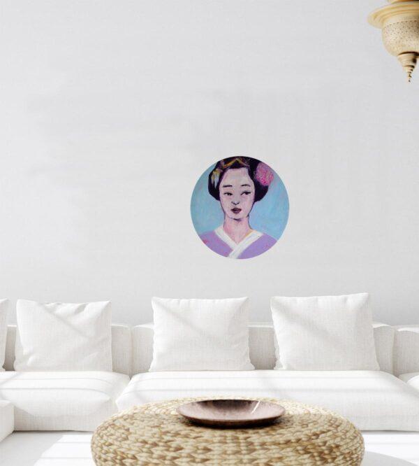 Gemälde Porträt. Acrylbild rund. Bildnis mit Frau. Modernes Wandbil