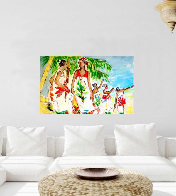 Modernes Wandbild fürs Wohnzimmer. Gemaltes Wohnzimmerbild. Acrylbild mit Frauen.
