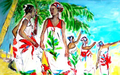 Wandbild fürs Wohnzimmer. Gemaltes Wohnzimmerbild. Buntes Bild. Tanzende Frauen.