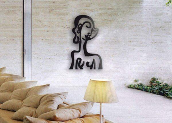 Wanddeko Wohnzimmer. Moderne Wandskulptur. Wandobjekt aus Metall. Wandplastik von Künstler.