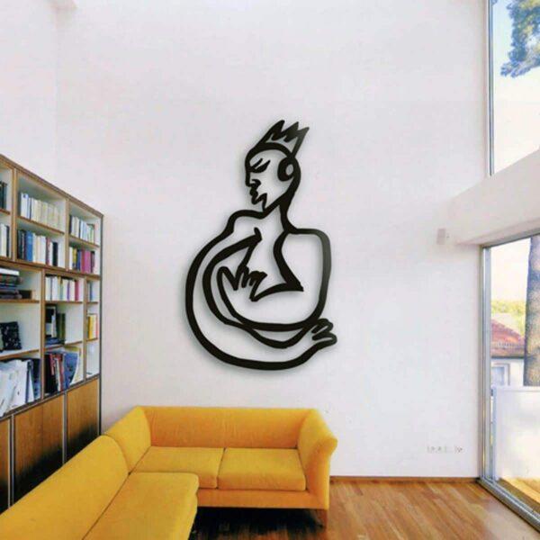 Wanddeko Metall. Wandplastik. Wandskulptur schwarz. Abstraktes Wandobjekt