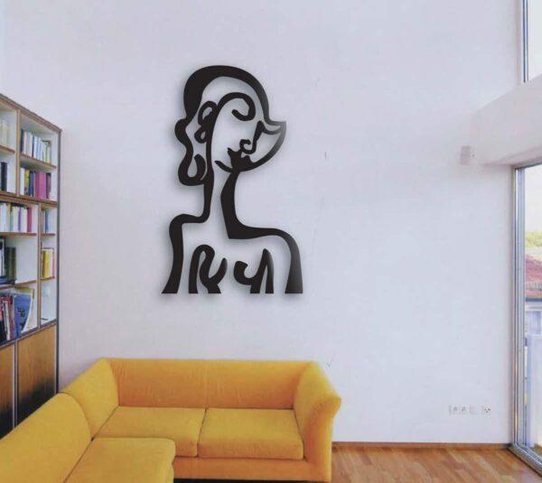 Wanddeko Wohnzimmer. Wandskulptur aus Metall. Modernes Wandobjekt. Abstrakte Wandplastik.