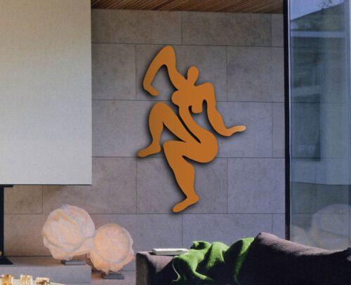 Wanddekoration. Wandobjekt aus Metall. WandskulpturRost Optik. Moderner Frauen Akt.