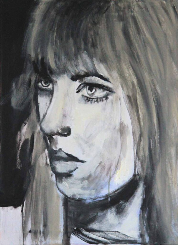 Gemälde schwarz weiß. Gemaltes Bild mit Frau. Leinwandbild.