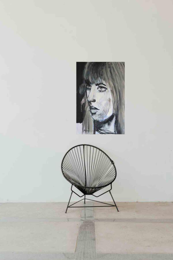 Schwarz weiß Gemälde. Gemaltes Wandbild. Leinwandbild mit Frau.