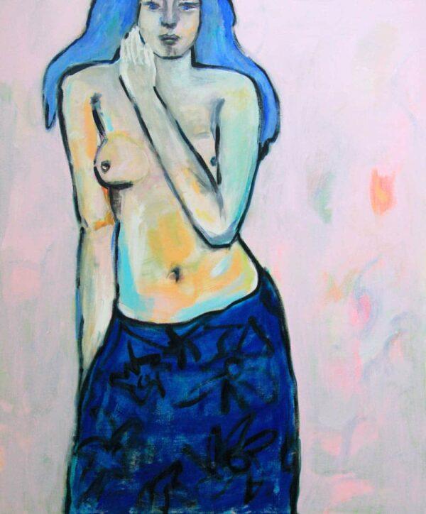 Akt Gemälde. Acrylbild mit Frau. Weiblicher Akt.
