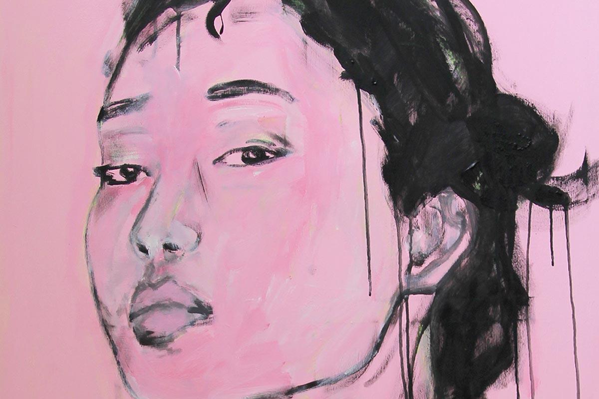 Modernes Bild. Porträt Gemälde mit Frau. Frauenmalerei auf Leinwand.