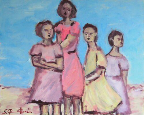 Sonniges Frauen Gemälde. Gemaltes Acryl Bild mit jungen Frauen.